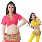 Belly Dance Costume (3 Ways to Wear) Cotton Short Sleeve Blouse Top 12 Colors