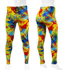 Mens Spandex Tights Exercise Compression Yellow Tie Dye