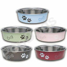STAINLESS STEEL Dog Puppy Designer Bella Non Skid Bowl