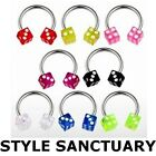 Circular Barbell Horseshoe Lip Nose Eyebrow Ring Dice