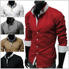 (DCH) TheLees NWT Mens casual unique double collar slim Dress Shirts 5 Colors