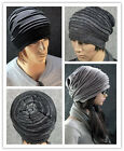 HOT Unisex Oversized Knit Baggy Beanie Hat Cap Black/Grey 2 Colours