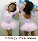 Girl Leotard Ballet Tutu Dance Party Dress 2-6Y Toddler Costume Long Sleeve NWT