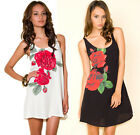 NEW MOTEL SONIA DRESS IN BIG RED ROSE BUD - BLACK OR WHITE 8 10 12 14