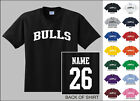 Bulls College Letters Custom Name & Number Personalized T-shirt