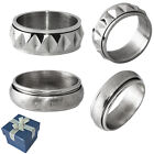 Mens Stainless Steel Rings w/ Rotating Center in Size 9, 10, 11, or 12 +GiftBox
