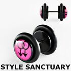 Pink Gay Male Symbol Pride Sign Black Fake Flesh Plug Earring Ear Stretcher 8mm