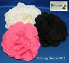 LARGE FLOWER BROOCH PIN FLORAL CORSAGE HOT PINK BLACK CREAM WEDDING PROM RACES