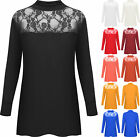 New Ladies Lace Polo Turtle Neck Long Sleeve Womens Stretch Plus Size Top 12- 26