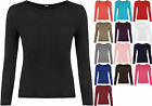 New Ladies Plus Size Long Sleeve T-shirt Womens Stretch Plain Top 16 18 20