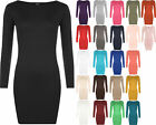 New Ladies Plus Size Bodycon Stretch Long Sleeve Dress Womens Plain Top 16 - 20
