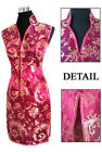 CF black red white pink Chinese silk Women's Dress Cheongsam  SZ:6.8.10.12.14.16