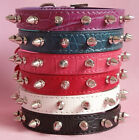 Pu Leather Spiked Studded Dog Puppy Collars Small Dog Collars Pink Black Red