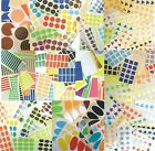 Mixed Colour Code Stickers Coloured Sticky Labels - 27 Colours 6 shapes 15 Sizes