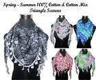 100% Cotton Light Weight Beautiful Triangle Scarves - Various Designs