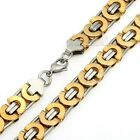 11mm Mens Boys Chain Flat Byzantine Stainless Steel Necklace Silver Gold Tone