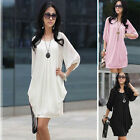 Hot Short Sleeve Summer Sexy womens Chiffon Casual Cocktail Mini dress D334