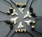 SHARK TOOTH NECKLACE wood bead REAL SHARKS TEETH PENDANT 30 styles MENS BOYS