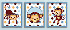 BLUE POP Mod Pod MONKEY Nursery Baby Boy Bedding Wall Decor Art Print Set of 3