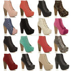 WOMENS LADIES LACE UP PLATFORM WOODEN BLOCK HIGH HEEL BOOTIES ANKLE BOOTS SIZE