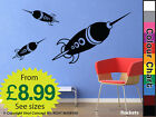 DIY DECO DECAL ADHESIVE ROCKETS KIDS WALL STICKERS DECALS CHILDRENS WALL STICKER