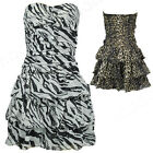 Wild Girl Chiffion Leopard Off Shoulder Strapless Mini Dress Tiered Dance Party