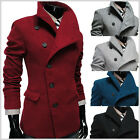 (AJK) THELEES Mens Casual Unbalance High neck Slim Wool Coat Jacket