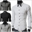 (ST29) THELEES Mens casual long double collar cuff slim dress shirts 4 COLOR