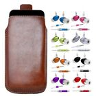 M- BROWN PULL TAB POUCH CASE COVER + HANDS FREE HEADSET fOr ZTE Orange Rio