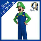 Boys Kids Childrens Licensed LUIGI Super Mario Brothers Fancy Dress Costume