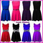 Womens Sleeveless Tailored Skater Dress Ladies Girls Belted Pleated Party Dress