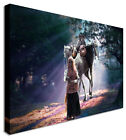Large Woman Traveller With Children Camel Indian Canvas Wall Art Print