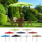 9' Ft 8 Ribs Patio Wood Umbrella Wooden Pole Outdoor Sunshade Market Garden Yard