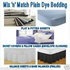 SUPER KING PLAIN DYED FITTED/FLAT SHEETS DUVET COVERS/SETS VALANCES PILLOW CASES