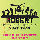 Army Wall Stickers Custom Names Art Mural Art Decor Sticker Diy Deco decals Swat