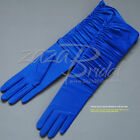 Gathered 4-Way Stretch Matte Finish Satin 14BL Gloves - Various Colors