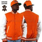 Aviatrix College Baseball Half Leather & Wool Jacket Orange