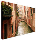 Venice Red Brick Bridges Canvas Wall Art Picture Large + Any Size