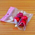 Hot 500pcs Free Ship Pink Flower Clear Seal Self Adhesive Plastic Packing Bags