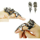 Silvery Men's Armor Knuckle Full Finger Dragon Ring Punk Rock Gothic Ring Cool
