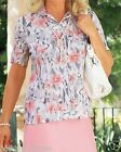 NEW LADIES WOMANS CELLBES SUMMER HOLIDAY CRINKLE PINK FLORAL TOP SIZE 14 16 UK