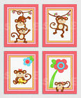 MELANIE THE MONKEY Giclee PRINTS Baby Girl Pink Nursery Bedding Art Wall Decor