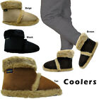 NEW MENS FAUX SUEDE COOLERS FURRY FLAT SLIPPERS ANKLE FUR BOOT ALL UK SIZES 7-12