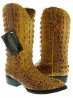 MEN'S RUSTIC YELLOW LEATHER FULL HEAD CUT CROCODILE ALLIGATOR COWBOY BOOTS RODEO