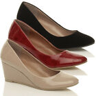 WOMENS LADIES LOW MID HEEL WEDGE WORK SMART CLASSIC COURT SHOES PUMPS SIZE