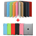 Magnetic Smart Cover Stand + Clear Hard Back Case for Apple New iPad 3 & 2