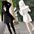 Autumn Winter Women Hoodie Overcoat Trench Coat Jacket Outerwear Peplum Cardigan