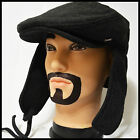 BRAND NEW WINTER IVY NEWSBOY WITH WARM EARFLAP BLACK THICK TWEED CABBIE HAT CAP