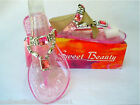 NEW Pink Rhinestone Jewel Jelly Flat Sandal T-Strap 6M Silver Bead Sweet Beauty