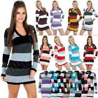 NEW Womens Ladies Knitwear Tunic Stripe Knitted Jumper Dress size 8-14 S M L XL